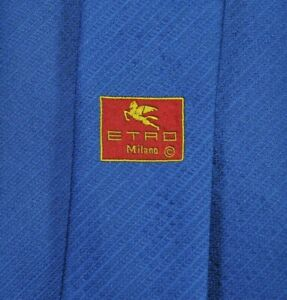ETRO MILANO Tie MADE IN ITALY 100% Silk Blue Color L58 W3.7