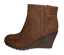 766dc9c685a MERONA Women s Brown Faux Suede Wedge Ankle Booties Lug Sole - Size 9