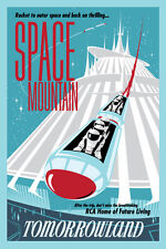 """DISNEY COLLECTOR'S POSTER 12"""" X 18"""" - TOMORROWLAND - SPACE MOUNTAIN"""