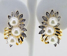 Cultured Pearl Solid 14k Two-Tone Gold/White Gold Earrings French Clip