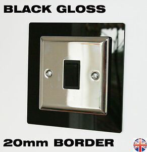 Light Switch Surround - Gloss Black - 20mm BORDER - Easy Fit