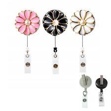 Flower Pearl Retractable ID Badge Reel Holder - Swivel Clip (Black White Pink )