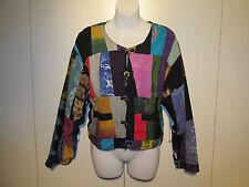 KOSI BALI COLLECTION Patchwork Batik Cropped Jacket 100% Rayon Art to Wear EUC