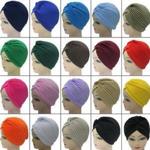 Women Indian Stretchable Chemo Pleated Turban Hat Fashion Head Wrap Hijab Cap