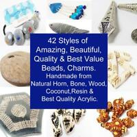 Bone Horn Wood Coconut Wooden Acrylic Resin Beads Charms Pendants - BEST VALUE