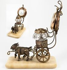 Fine Antique French Palais Royal Goat Carriage, Pocket Watch Stand & Inkwell