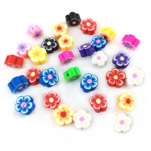 Mixed-Colour Polymer Clay Beads Flower 8.5mm x 4.5mm Pack Of 30