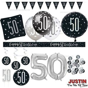 Black 50th Birthday Party Decorations Supplies Boys Mens Balloons Banners AGE 50