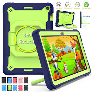 For Amazon Fire HD 8 2020 Shockproof Rotating Stand Heavy Duty Hard Case Strap