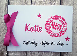 PERSONALISED . HEN PARTY . HEN NIGHT. MESSAGE BOOK . GUEST BOOK . SIGNATURE BOOK