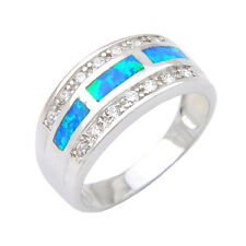 Pure 925 Sterling Silver Blue Fire Opal White Zircon Gem Ring Size 8 For Mother