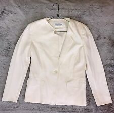 #527 MAX MARA Italy Winter White Ivory Cotton Coat Blazer Jacket GUC Sz 10