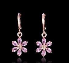 Aro Enchapado en Oro Rosa 18K Cristal Flor Rosa Margarita Pendientes Colgantes de gota de la CZ