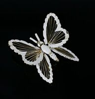 Vintage Gold Tone MONET Openwork Butterfly Signed Costume Jewelry Brooch Pin