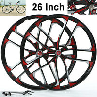 "iMeshbean BMX Cruiser 26"" CNC 10 Spoke Rims Mag Alloy Bike Wheelset Disc Brake"