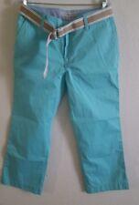 New Tommy Hilfiger Womens Dana Fit Belted Cropped Capri Pants Aqua Blue Size 8