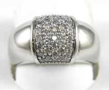 Round Diamond Cluster Pave Dome Ring Band 14k White Gold .55Ct