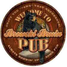 Brewski Bruin Pub Round Wood Sign by Lee Kromschroeder Wild Wings