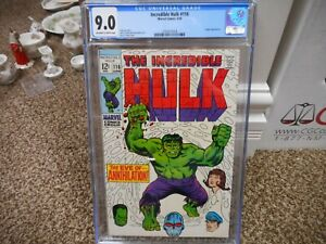 Incredible Hulk 116 cgc 9.0 Marvel 1969 Eve of Annihilation Leader cover ow/w pg