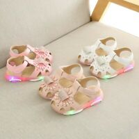 Toddler Kids Baby Girls Flower Led Light Luminous Sport Sandals Sneaker Shoes