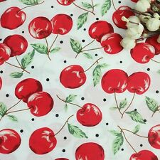 150cm Wide White Red Fruit Print Apple Print? Cherry Print? Cotton Poplin Fabric