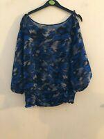 Miss Selfridge blue patterned top size 12