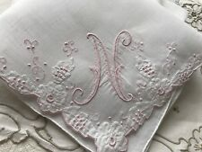 A+ Vintage White Linen Hankie Madeira Style Hand Embroidery Pink Monogram N