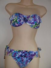 Blue/multi print quality bikini set with fringe . Swimwear swimsuit 10