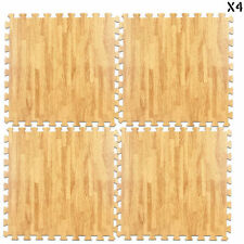EVA Interlocking Soft Foam Wood Effect Mats Gym Exercise Kids Play Floor Tiles