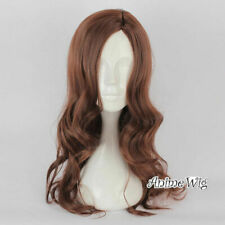 70CM Anime Long Brown Wavy Women Heat Resistant Party Daily Cosplay Wig UK