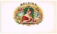 ORIGINAL INNER CIGAR BOX LABEL CUBAN GIRL ADVERTISING VINTAGE BELDINA C1900