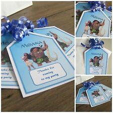 5 x MOANA personalised Party Bag tags GIFT TAGS PARTY BAG LABELS with ribbon