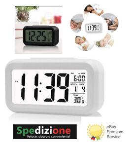 Orologio Sveglia Digitale Con Luce LED Multi Colore Termometro Data Bianco Clock