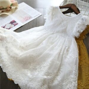 Kids Girls Dress Solid Sleevelss Bow Flower Lace Princess Dress Age 1~6 Years