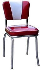 Chrome Diner Chair Retro 50's 60's Style Mid Century Modern Red White Vinyl Seat