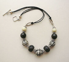 Collar Necklace Black Off-White Cream Striped Ceramic Beaded Silver   KCJ690