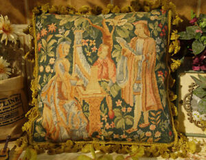"""18"""" Playing Piano OLD Antique Aubusson Design Handmade Needlepoint Throw Pillow"""