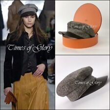 NEW Auth Hermes Runway Brown LEATHER CASHMERE Flap Military Cap Hat Size 57 M