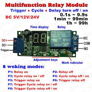 DC 5v 12v 24v Digital LED Cycle Delay Timer Relay Control Switch ON/OFF Module
