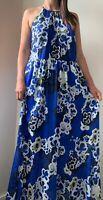 NEW CITY CHIC Blue White Floral Print Maxi Dress Plus Size S AU 16 RRP $140 Boho