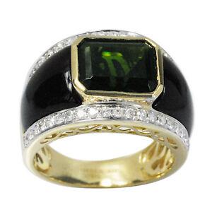 De Buman 10k Yellow Gold 8.25ctw Genuine Diopside & Diamond Men's Ring, Size10