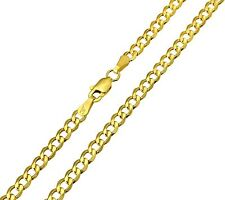 14K Real Yellow Gold 3.4mm Concave Curb Cuban Hollow Chain - 20 Inches