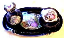 ❤ ANTIQUE VICTORIAN SCENIC DRESSER SET PERFUME BOTTLE TRAY JEWELRY POWDER BOX