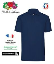 New Fruit of the Loom FOTL Slim Fit Polo Shirt Haut Man Homme / Marine Navy XXL