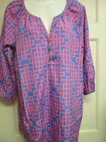 Pink/Blue Geometric Print Tunic Top by Mud Pie, Size Medium, NWT
