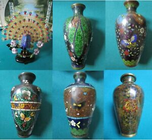 ANTIQUE CHINESE CLOISONNE MULTICOLOR VASES PEACOCK FILIGREE IN STAND- PICK ONE