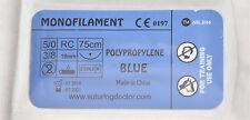 5/0 POLYPROPYLENE MONOFILAMENT 75cm SUTURES FOR TRAINING USE 18mm NEEDLE 12pcs