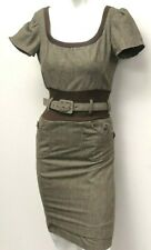 D & G Dolce Gabbana Brown Plaid Houndstooth Dress Scoop Neck Belted Size IT 36