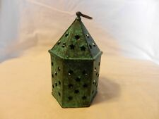 Green Metal Hanging Tea Light Candle Holder with stars, Antique Finish