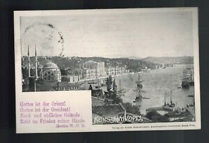 1898 Constantinople Turkey Posen Ships Harbor Real Picture Postcard RPPC Cover